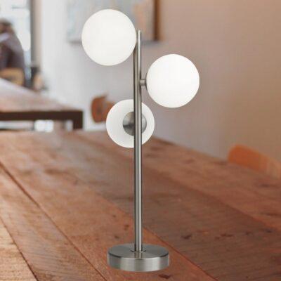 3 Light Opal Silver Table Lamp