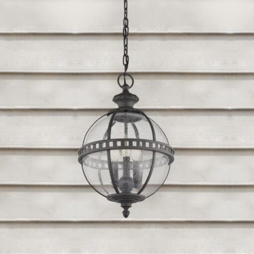 3 Light Outdoor Seeded Glass Chandelier