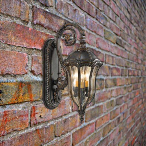 3 Light Outdoor Walnut Wall Lantern