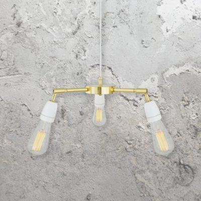 Modern 3 Light Polished Brass Pendant