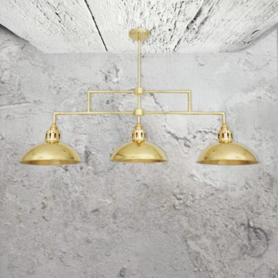 3 Light Polished Brass Semi-Flush