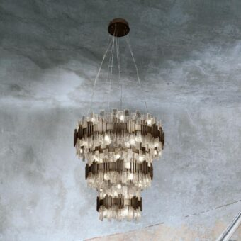 3 Tier Gold Ice Chandelier
