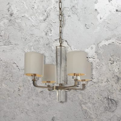 4 Light Brass Glass Chandelier with Shades