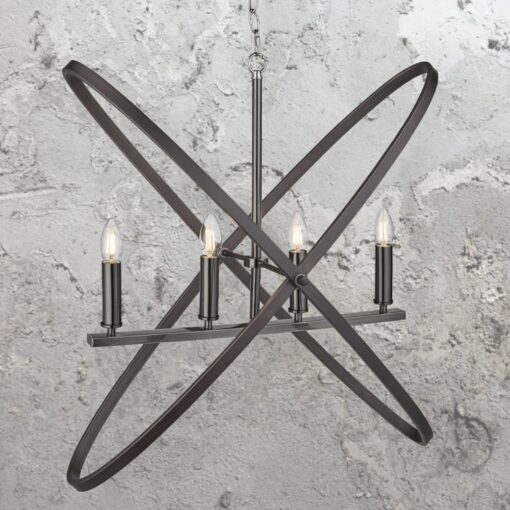 4 Light Rustic Pewter Chandelier