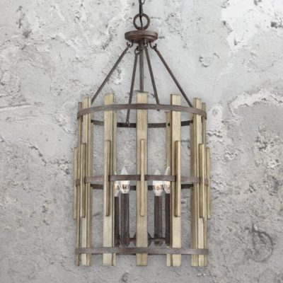 4 Light Rustic Wood Lantern