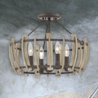 4 Light Rustic Wood Semi Flush