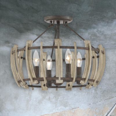 4 Light Rustic Wood Semi Flush
