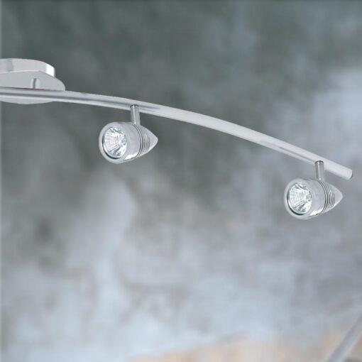 4 Light Satin Silver Curved Spotlight Bar