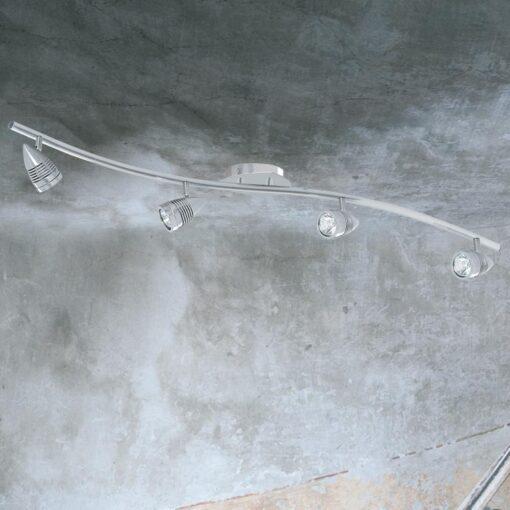 4 Light Silver Curved Spotlight Bar
