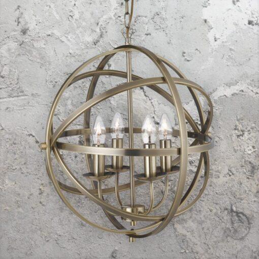 4 Light Spherical Brass Chandelier