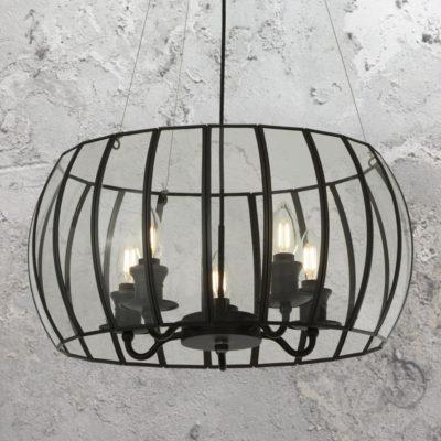 5 Light Black Glass Cage Chandelier