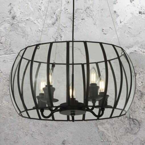 5 Light Black Glass Cage Chandelier