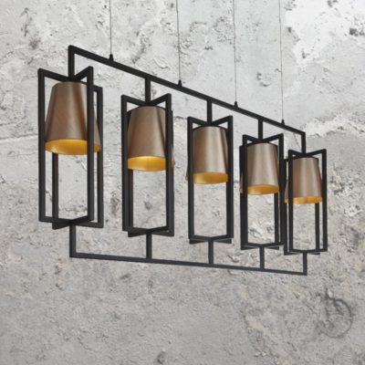 5 Light Black Linear Chandelier with Shades