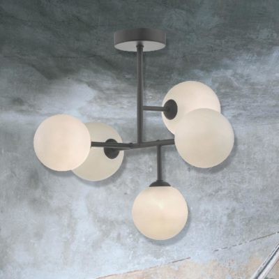 5 Light Black Semi Flush