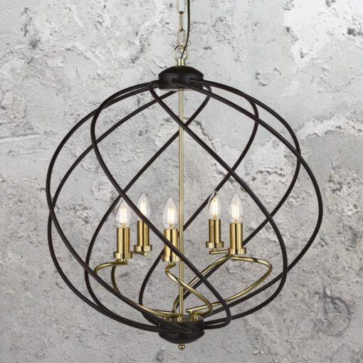 5 Light Black Spiral Chandelier