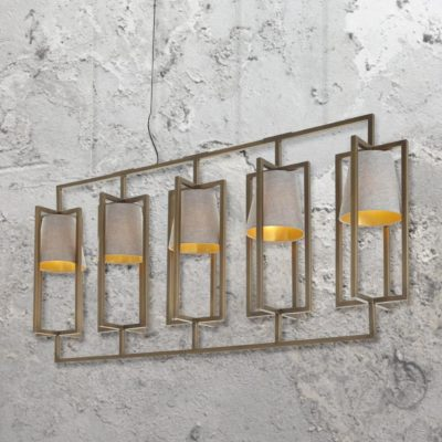 5 Light Brass Linear Chandelier with Shades