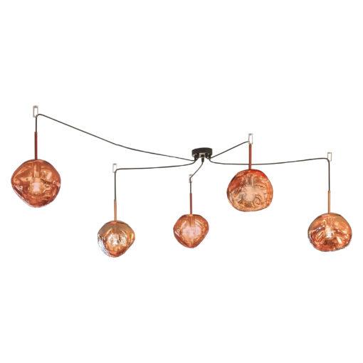 5 Light Copper Melted Molten Pendant