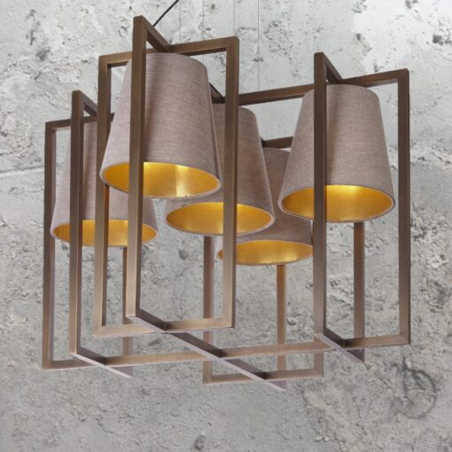 5 Light Geometric Brass Chandelier with Shades