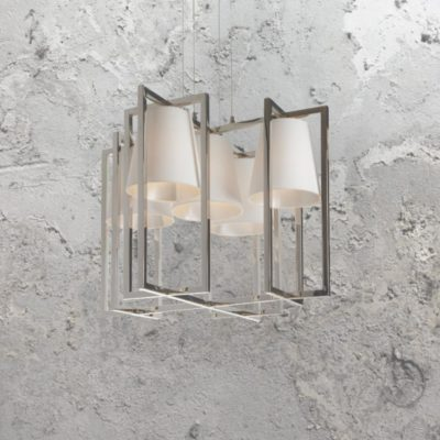 5 Light Geometric Nickel Chandelier with Shades