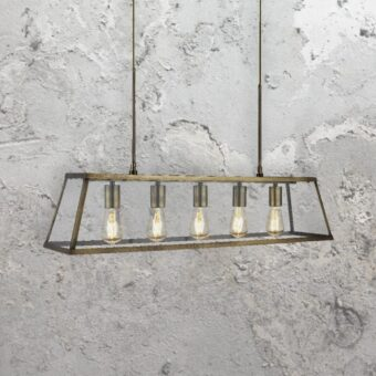 5 Light Glass Box Pendant