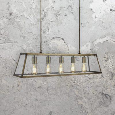 5 Light Glass Box Pendant