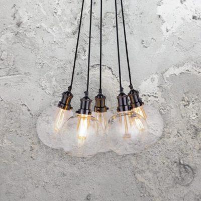 5 Light Glass Pendant Cluster