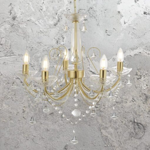5 Light Gold Clear Crystal Chandelier
