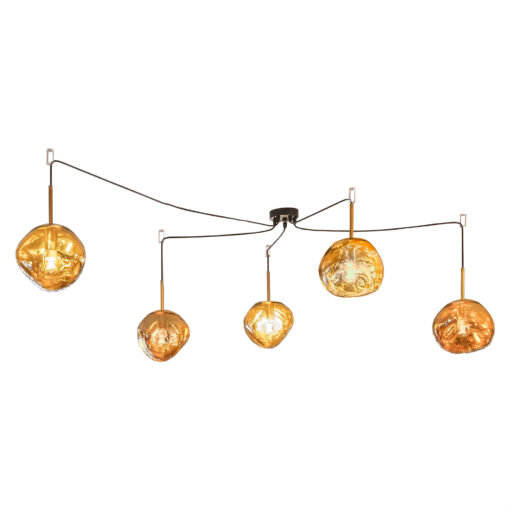 5 Light Gold Melted Molten Pendant