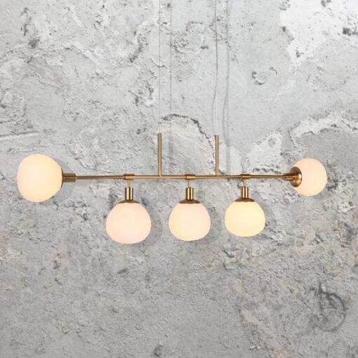 5 Light Linear Opal Globe Chandelier