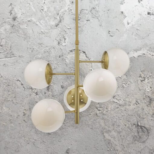5 Light Mid Century Opal Globe Chandelier