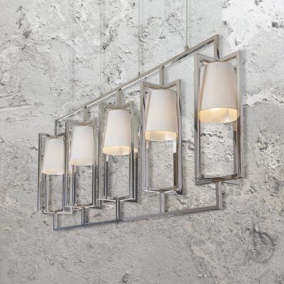 5 Light Nickel Linear Chandelier with Shades