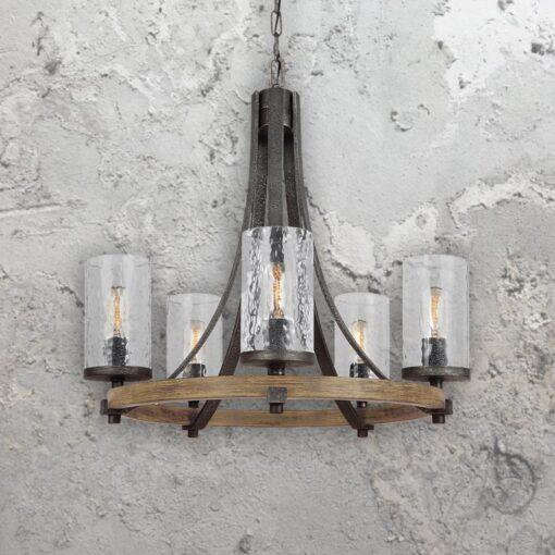 5 Light Rustic Wavy Glass Chandelier