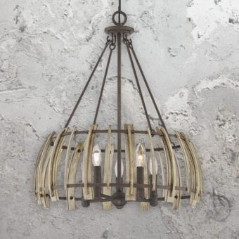 5 Light Rustic Wood Chandelier