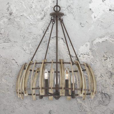 5 Light Rustic Wood Chandelier