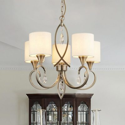 5 Light Traditional Antique Brass Chandelier with Linen Shades