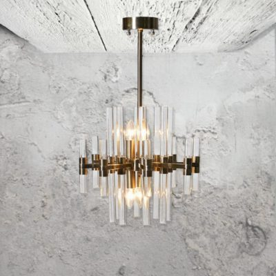 6 Light Brass Glass Rod Chandelier