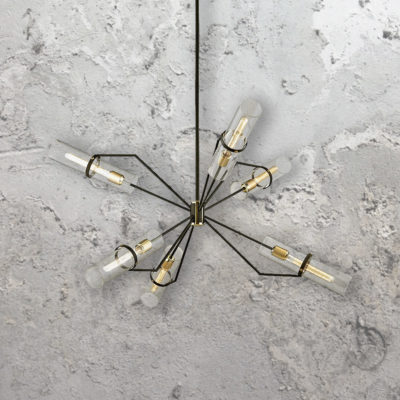 6 Light Designer Geometric Tubular Chandelier