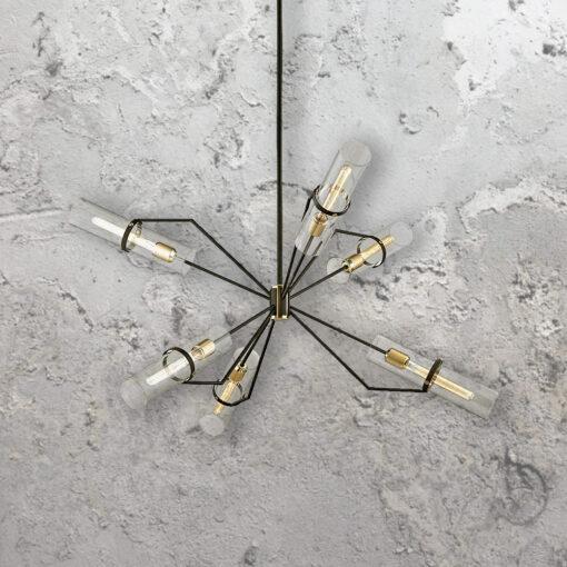 6 Light Designer Geometric Tubular Chandelier