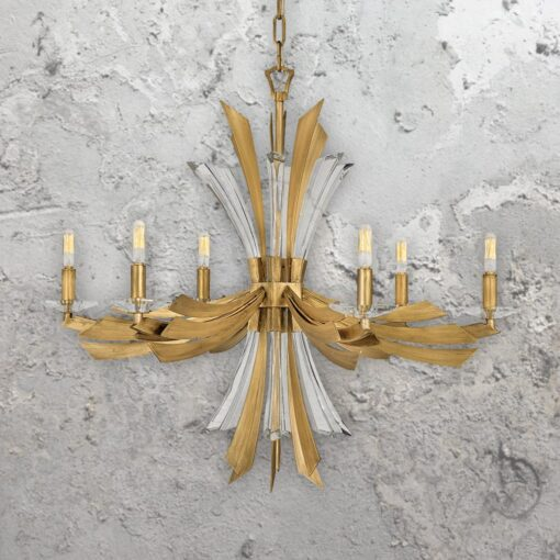 6 Light Gold Crystal Chandelier