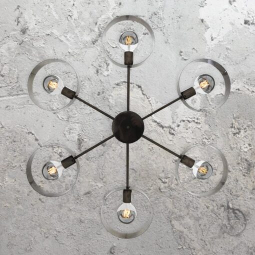 Antique Silver 6 Light Industrial Ring Chandelier