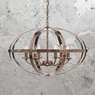 6 Light Round Burnished Copper Chandelier
