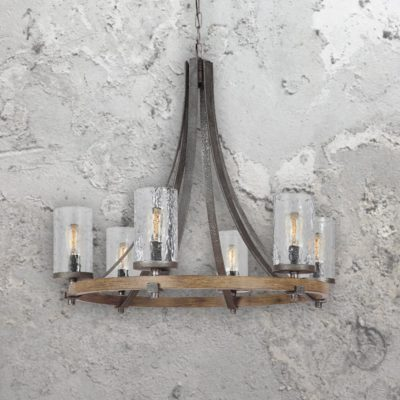 6 Light Rustic Wavy Glass Chandelier