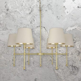 6 Light Satin Brass Chandelier