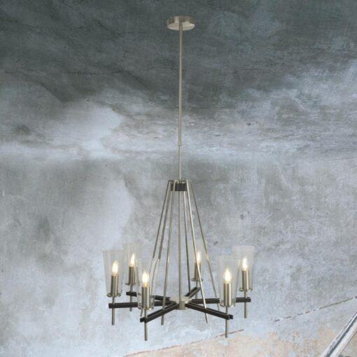 6 Light Satin Silver Clear Glass Chandelier