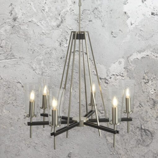 6 Light Silver Clear Glass Chandelier