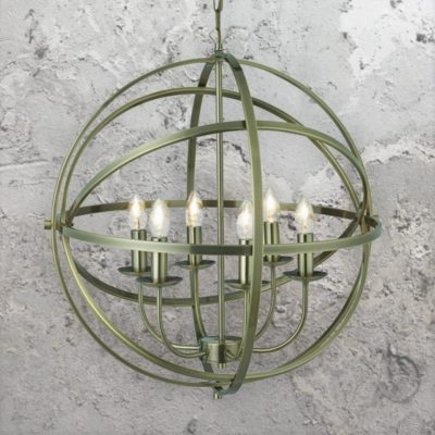 6 Light Spherical Brass Chandelier