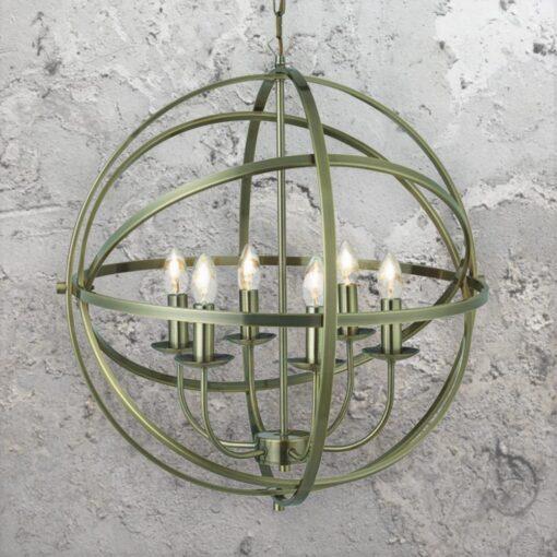 6 Light Spherical Brass Chandelier