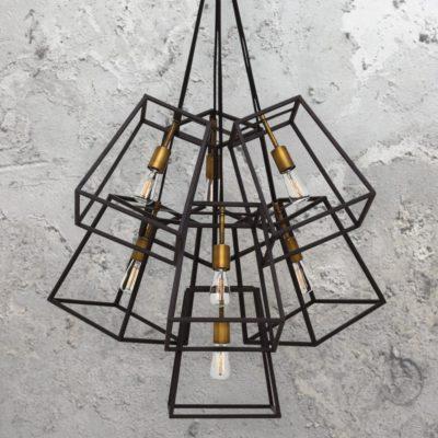 7 Light Minimalist Bronze Vintage Chandelier