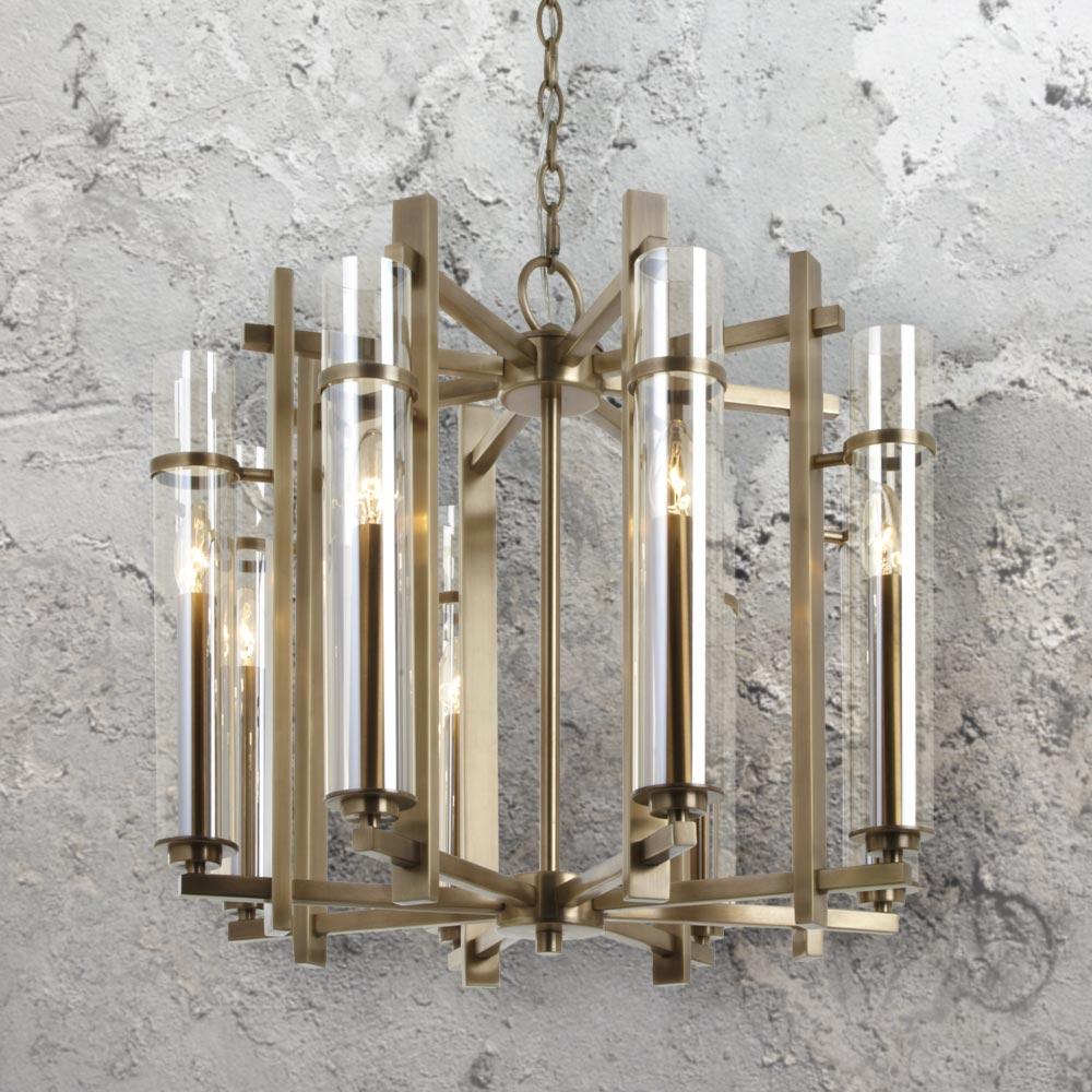 Round Antique Brass Glass Chandelier