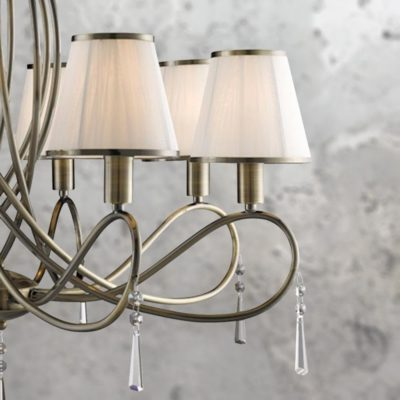 8 Light Traditional Antique Brass Chandelier with String Shades